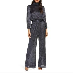 Eliza J Mock Neck Smocked Metallic Jumpsuit
